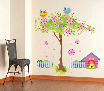 ufengke UF-WL0033 Flower Tree Owls and Dog Wall Sticker Multicolor - picture 2