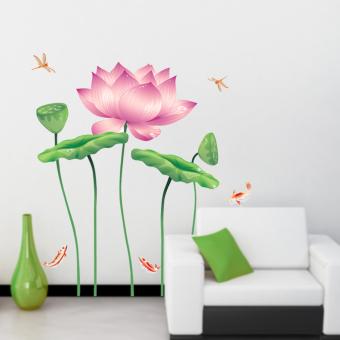 ufengke UF-WL0170 Lotus Flower Wall Stickers Pink