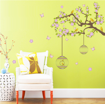 ufengke UF-WL0823 Flower Birdcages and Birds Wall Sticker Pink - picture 2