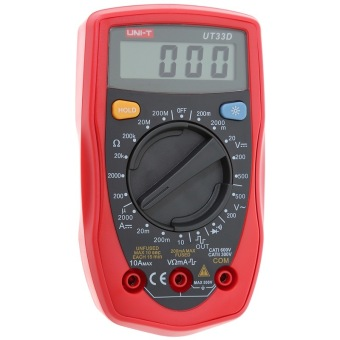 UNI-T UT33D palmtop LCD Standard Data Digital Multimeter with Backlight Button and Double Insulation Protection Mannual Range Measuring and Analysis Tool Red+Grey - intl - 2