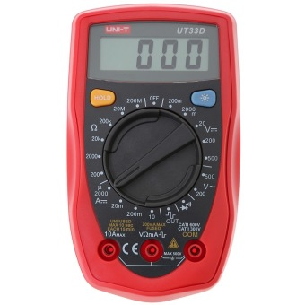 UNI-T UT33D palmtop LCD Standard Data Digital Multimeter with Backlight Button and Double Insulation Protection Mannual Range Measuring and Analysis Tool Red+Grey - intl