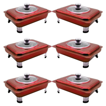 UNIBEST Elegant 3L Stainless Steel Food Tray Serving Dish (RubyRed) SET OF 6