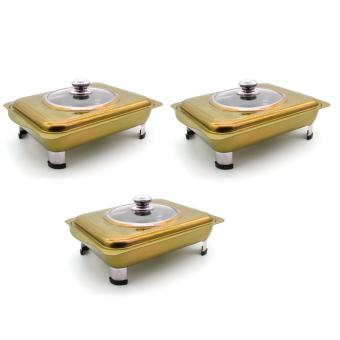 Unibest Elegant Stainless Steel 3Liters Food Warmer Tray Serving Dish Colored #8677 SET OF 3