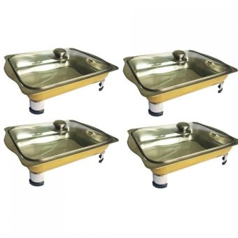 Unibest Stainless Steel Food Tray Serving Dish Set of 4 (Gold)