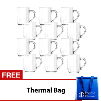 Union Glass Mug 10oz Set of 12 (Clear) with FREE Thermal Bag