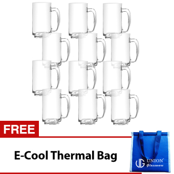Union Glass Mug 13oz Set of 12 (Clear) with FREE Thermal Bag