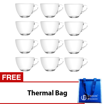 Union Glass Tea Cup Set of 12 (Clear) with FREE Thermal Bag