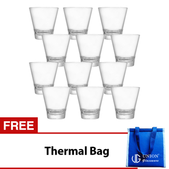 Union Glass Tumbler 10oz Set of 12 (Clear) with FREE Thermal Bag