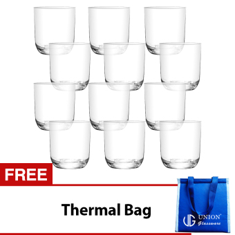 Union Glass Tumbler 8oz Set of 12 (White) with FREE Thermal Bag