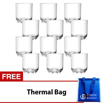 Union Glass Tumbler 8oz Set of 12 (White) with Free Thermal Bag
