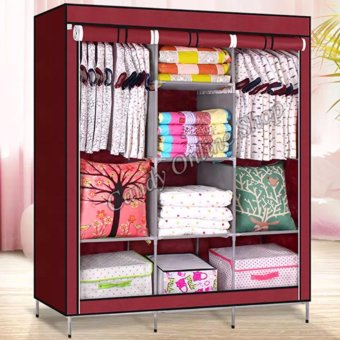 USA TOP ONE lazada and USA best selling Fashion Cloth Storage Wardrobe (Wine Red)