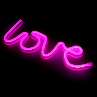 USB Charging Powered LOVE LED Neon Sign Light Home WeddingChristmas Decor Lamp (Pink) - intl