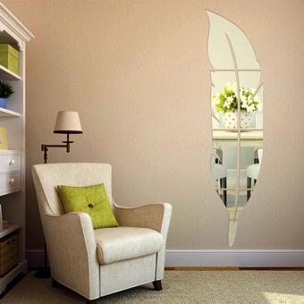 USTORE Beautiful Feather Shape Wall Sticker Home 3D Mirror WallDecorative Stickers 18*73CM - intl