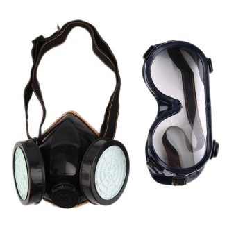 USTORE Protection Filter Double Gas Mask Chemical Gas Respirator Face Mask Goggles Black - intl