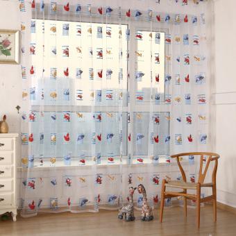 VAKIND Kids Car Pattern Voile Door Window Curtains (White/Blue)