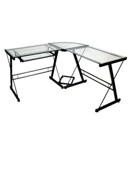 Vanity Center L- Shaped Table (Black)