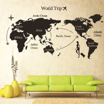 Vanker DIY Colorful Travel the World Map Removable Vinyl Wall Stickers Room Decor Decal
