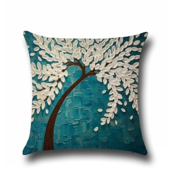 Various Paint Linen Pillow Case Sofa Throw Cushion Cover Home Decorations - intl