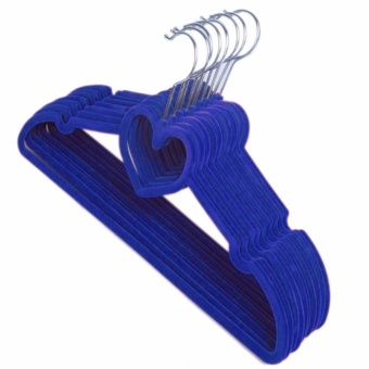 Velvet Non-Slip Thin Clothes Clothing Hanger Heart Shaped (Set of10 Blue) - 72001