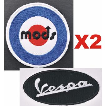Vespa Mods Cloth Patch & Vespa Script Embroidered Patch Set(Get 2)