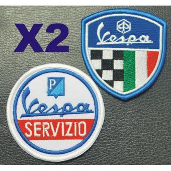 Vespa Servizio Cloth Patch & Vespa Racing Crest EmbroideredPatch Set (Get 2)