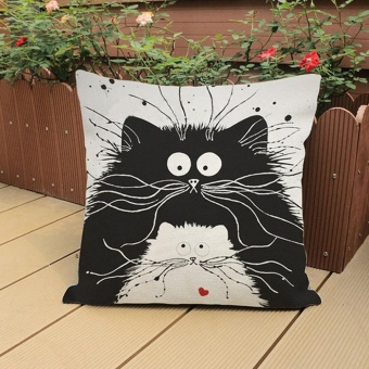Vintage Cat Cotton Linen Throw Pillow Case Sofa Waist Cushion Cover Home Decor - intl