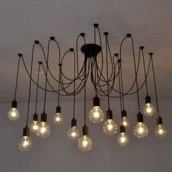 Vintage Edison Industrial Style Chandelier Pendant Lights Ceiling Lamps 14 Heads