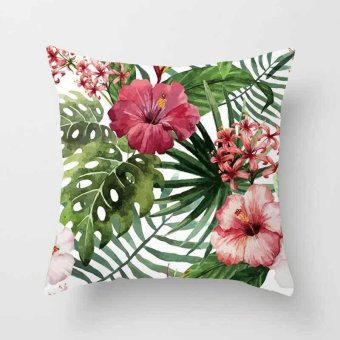 Vintage Flower Tropical Leaves Pillow Case Cushion Cover Home Decor #12 - intl