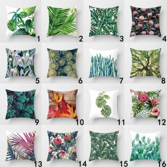 Vintage Flower Tropical Leaves Pillow Case Cushion Cover Home Decor#1 - intl