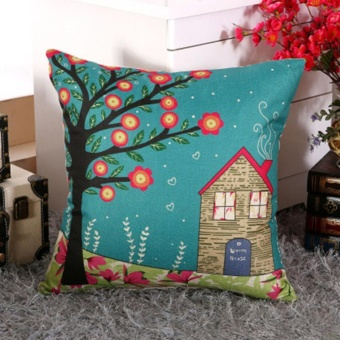 Vintage Linen Cotton Cushion Cover Throw Pillow Case Sofa HomeDecor A House Under Flower Tree - intl