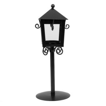Vintage Street Lamp Design Candle Holder Tea Light Candlestick Stand - Black - 2