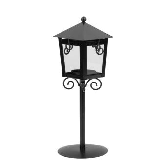 Vintage Street Lamp Design Candle Holder Tea Light Candlestick Stand - Black - 3