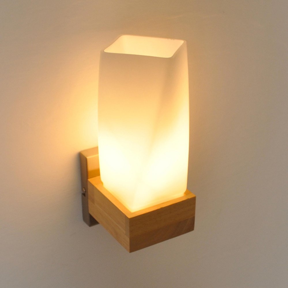 Philippines | Vintage Wooden Lamparas Wall Lamp Bedroom Glass Light ...