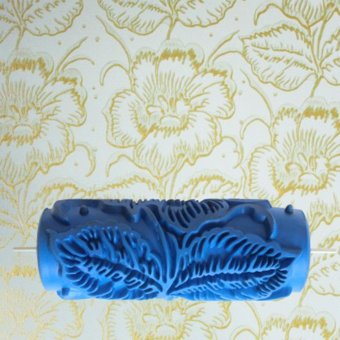 Wall Decoration Empaistic Flower Pattern Painting Roller - (Blue)