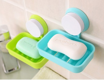 Wall Mounted Plastic Bathroom Shower Strong Suction Cup Soap Dish(Blue) - 5