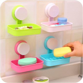 Wall Mounted Plastic Bathroom Shower Strong Suction Cup Soap Dish(Pink)