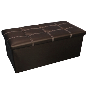 Wallmark Big Leather Ottoman Storage Box Chairs (Chocolate Brown)