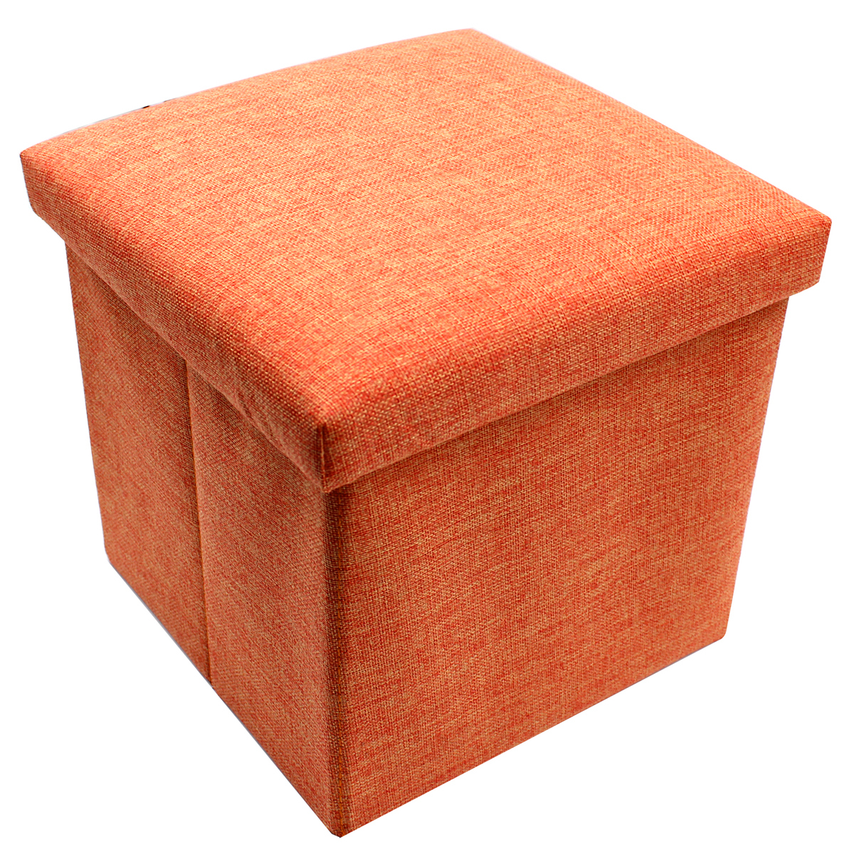 wallmark fabric ottoman storage box chairs (orange)  lazada ph -