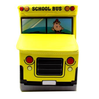 Wallmark Foldable Ottoman School Bus Storage Box Chairs (Yellow) - 3