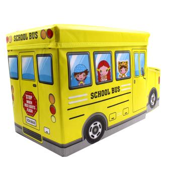 Wallmark Foldable Ottoman School Bus Storage Box Chairs (Yellow) - 2