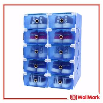 Wallmark Foldable Plastic Transparent Drawer Case Shoe Storage Organizer Stackable Box Set of 10 (Blue)