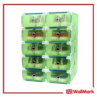 Wallmark Foldable Plastic Transparent Drawer Case Shoe Storage Organizer Stackable Box Set of 10 (Green)