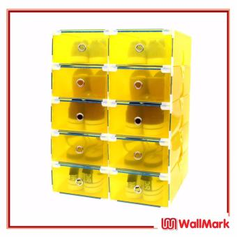 Wallmark Foldable Plastic Transparent Drawer Case Shoe Storage Organizer Stackable Box Set of 10 (Yellow)
