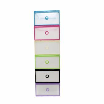 Wallmark Foldable Plastic Transparent Drawer Case Shoe Storage Organizer Stackable Box Women Size Set of 24 (Multicolor) - 2
