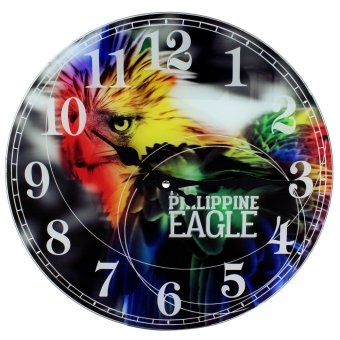 Wallmark Philippine Eagle Tempered Glass Creative Wall Clock