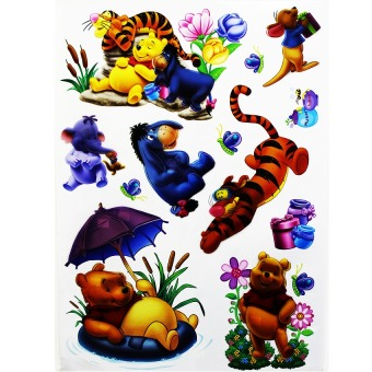 Wallmark Pooh and Friends 3D Wall Sticker (Multicolor)