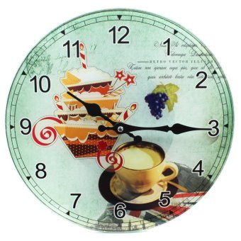 Wallmark Retro Vector Coffee Tempered Glass Creative Wall Clock