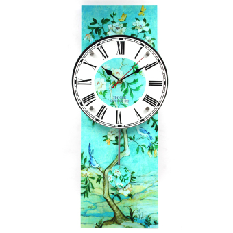 Wallmark Tree with Flowers Pendulum Wall Clock