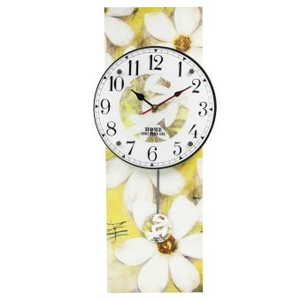Wallmark White Royalty Flower Pendulum Wall Clock