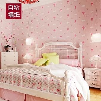 Warm and romantic 3D non-woven cloth pink bedroom children's room wall adhesive paper Wallpaper